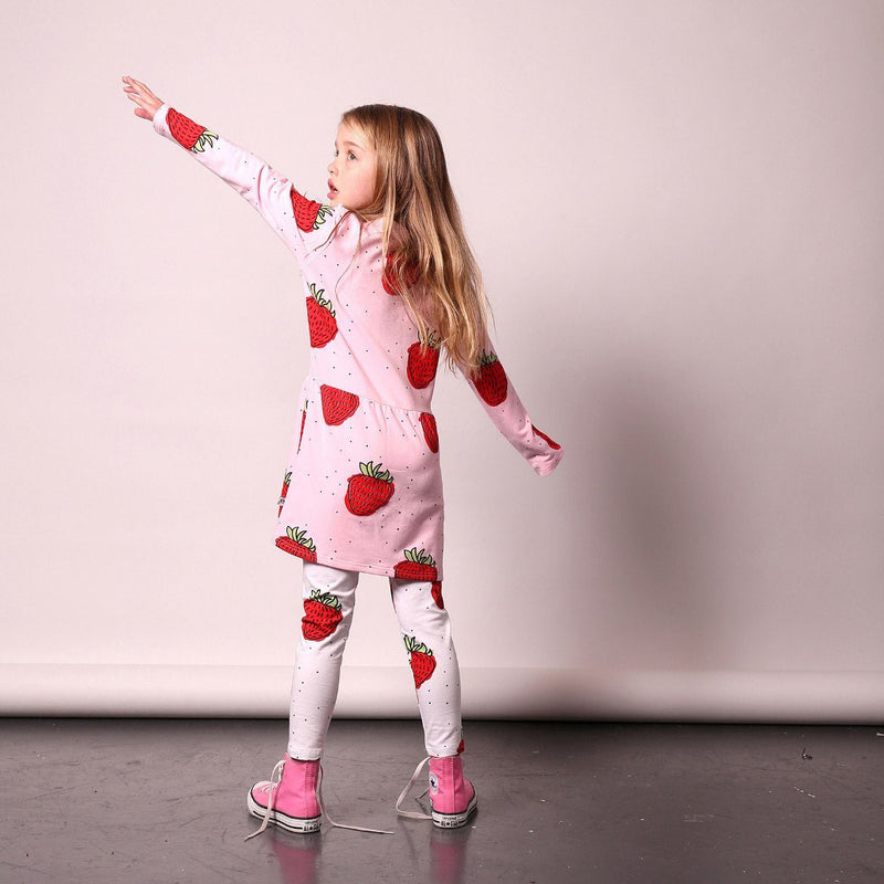 Little Horn_Strawberries Leggings White - The Child Hood