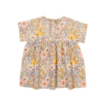 LULU LINEN DRESS - VINTAGE FLORAL GOLDEN