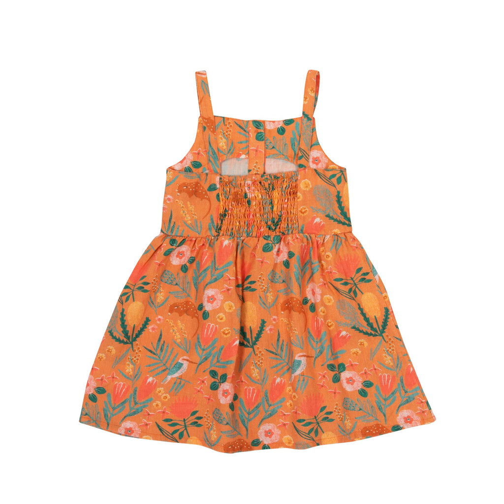 MARIGOLD LINEN DRESS - NATIVE GARDEN TERRACOTTA