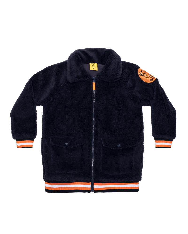Navy Fluffy Bomber Jacket