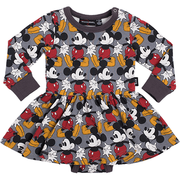 Rock Your Baby_Marching Mickey Long Sleeve Baby Waisted Dress - The Child Hood