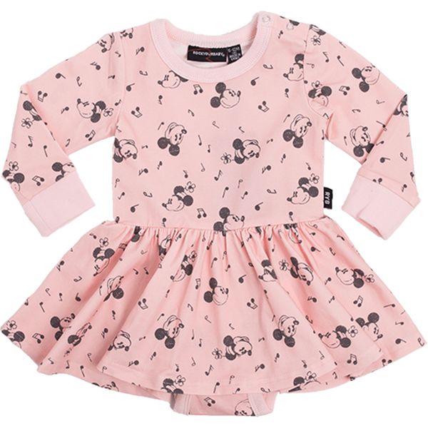 Rock Your Baby_Musical Mickey Long Sleeve Baby Waisted Dress - The Child Hood