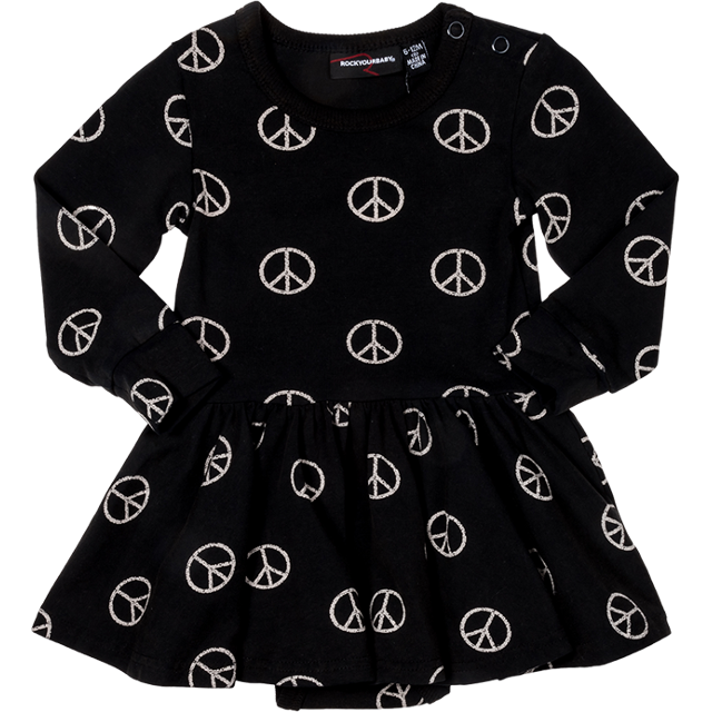 Rock Your Baby_Peace Out Baby Waisted Dress - The Child Hood