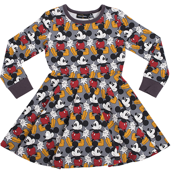 Rock Your Baby_Marching Mickey Long Sleeve Waisted Dress - The Child Hood