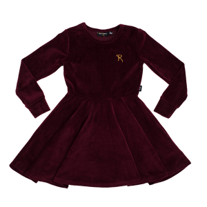 Velvet Long Sleeve Waisted Dress - Plum