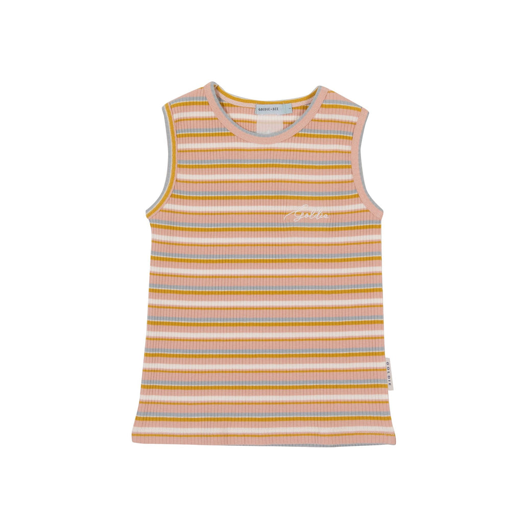 GOLDIE RIBBED SINGLET - PINK/GOLD