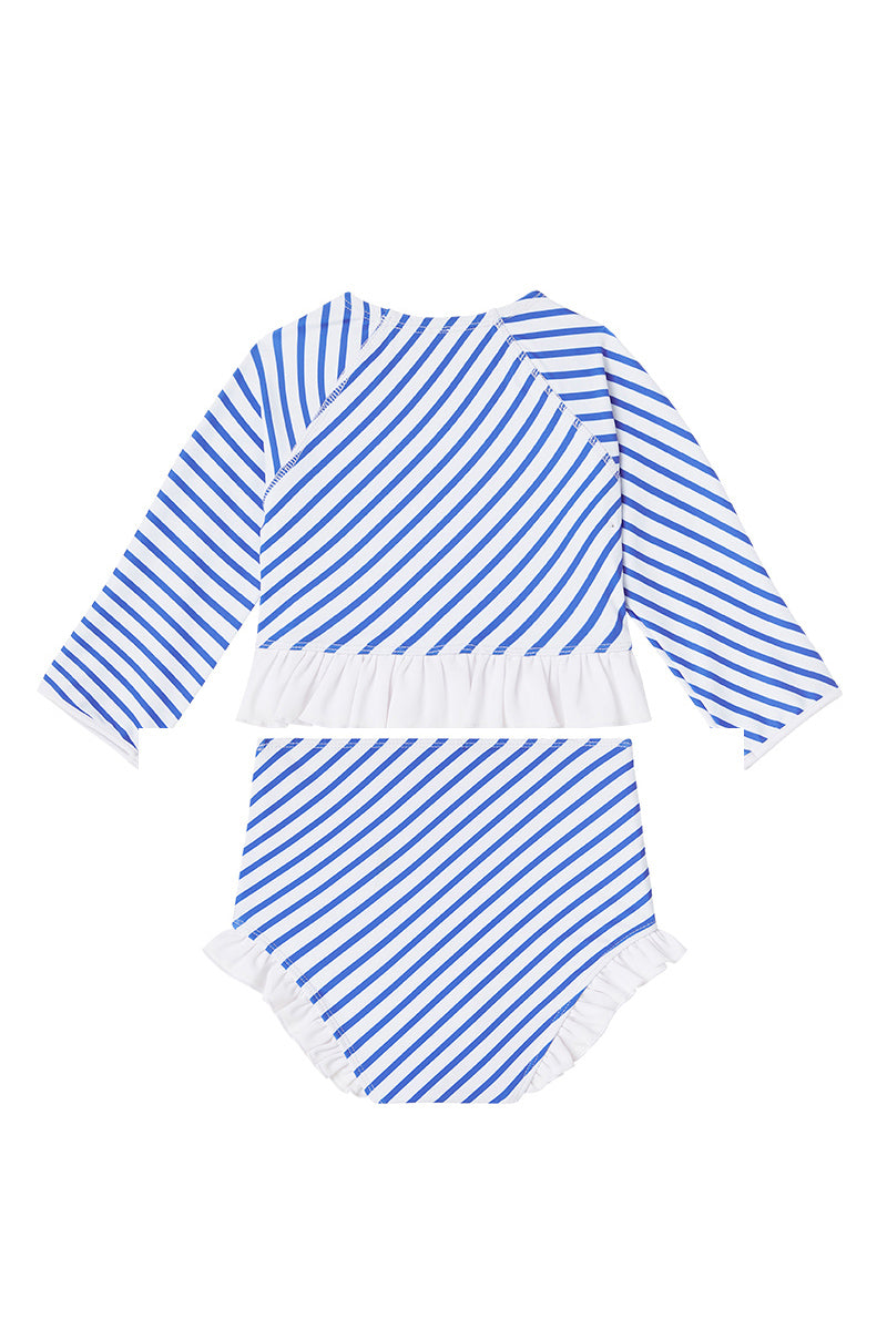 Dot Dot Swim_Ocean Stripe Long-Sleeve Ruffle Two-Piece - The Child Hood
