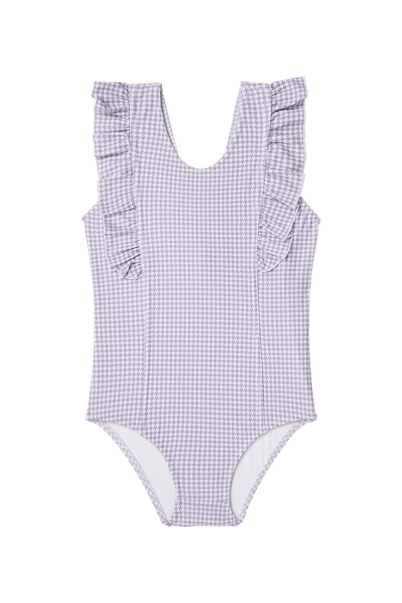 Dot Dot Swim_Lilac Houndstooth One-Piece Frill - The Child Hood