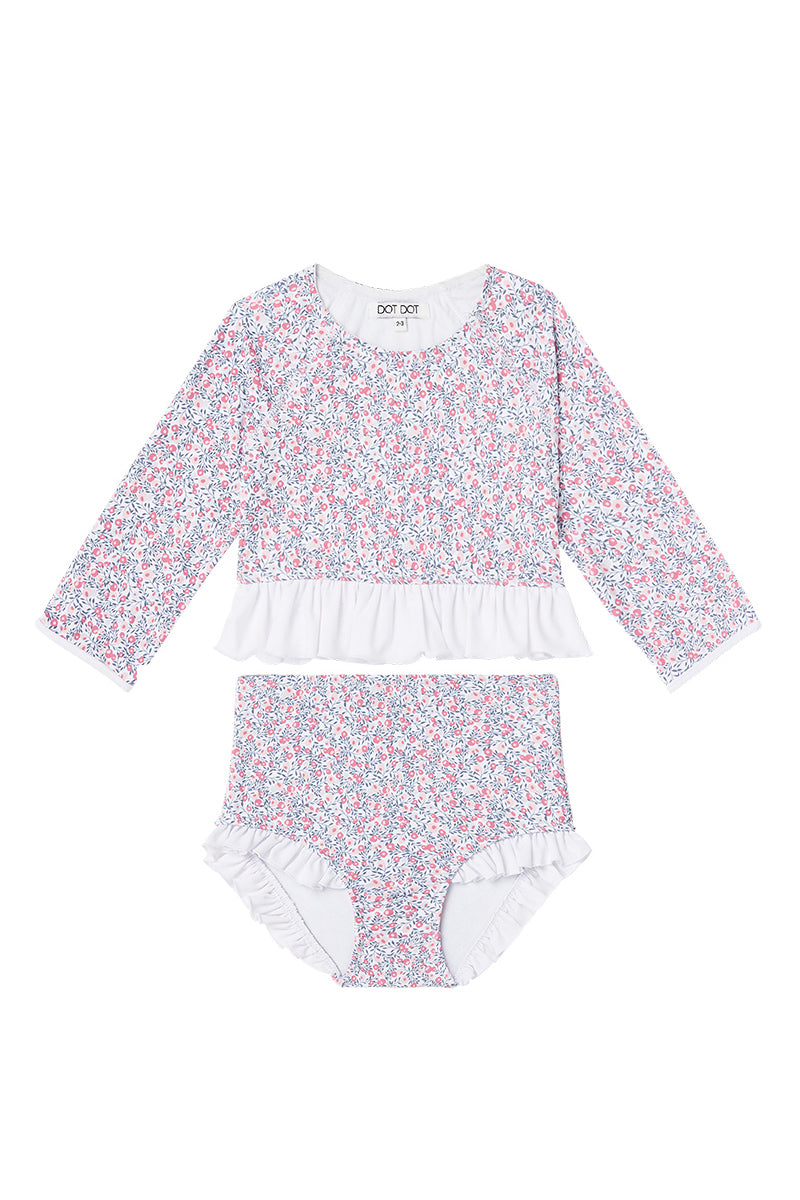 Dot Dot Swim_Cherry Blossom Long-Sleeve Ruffle Two-Piece - The Child Hood