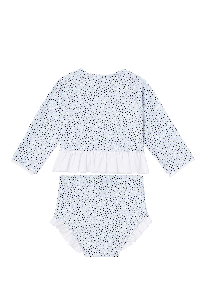 Dot Dot Swim_Ice-Blue Long-Sleeve Ruffle Two-Piece - The Child Hood