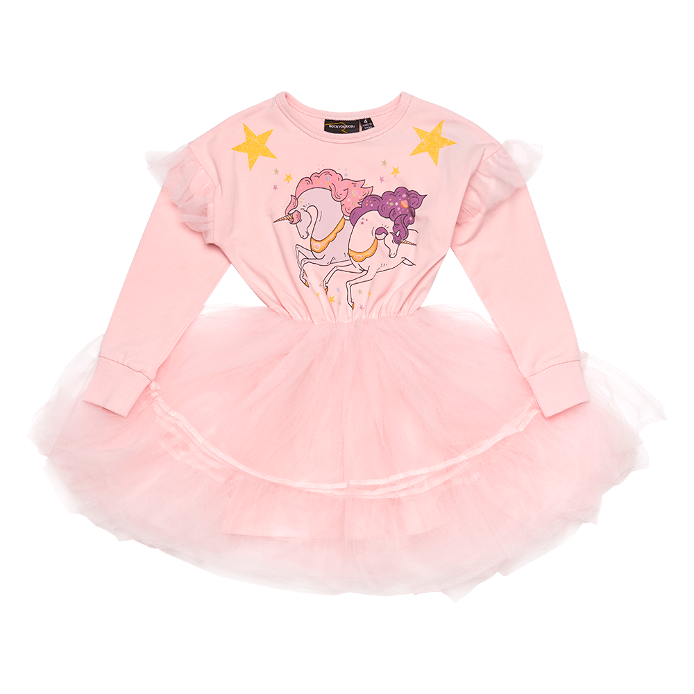 Rock Your Baby_Cosmic Unicorn Long Sleeve Flounce Dress - The Child Hood