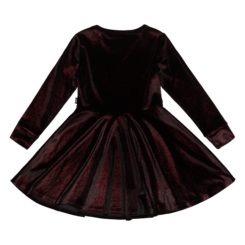 Rock Your Baby_Red Velvet Long Sleeve Waisted Dress - The Child Hood