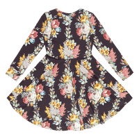 Rock Your Baby_Midnight Chintz Long Sleeve Waisted Dress - The Child Hood