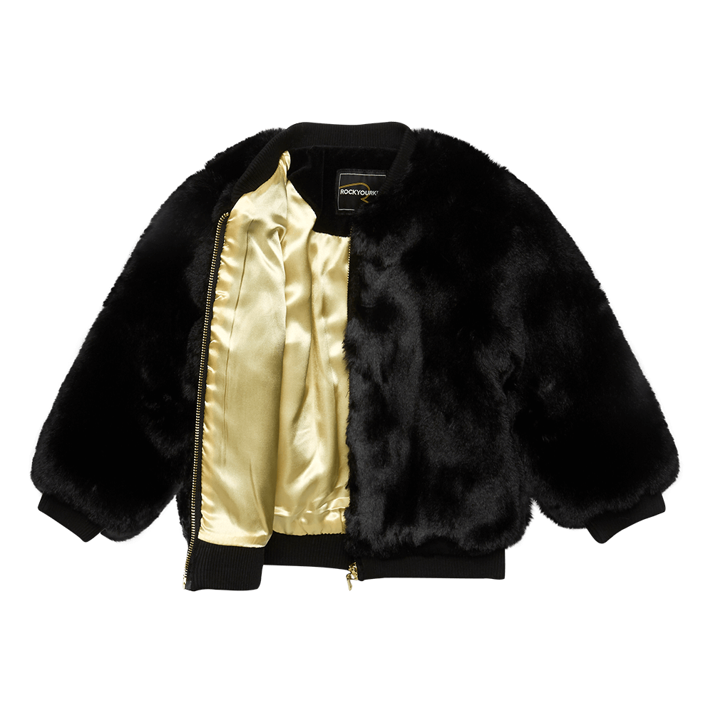 Rock Your Baby_Black Fur Bomber Jacket - The Child Hood