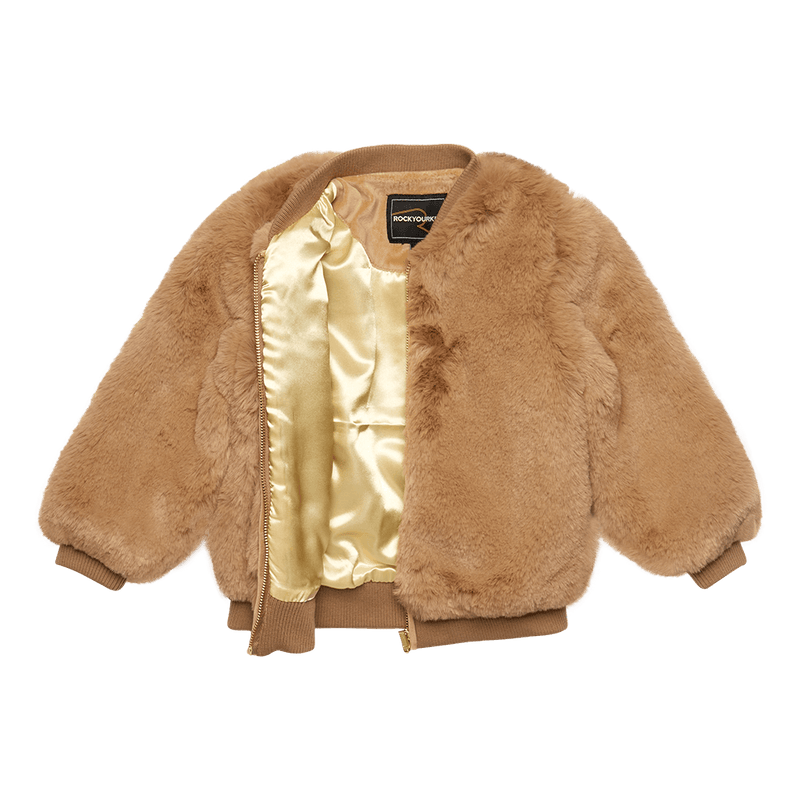 Rock Your Baby_Tan Fur Bomber Jacket - The Child Hood
