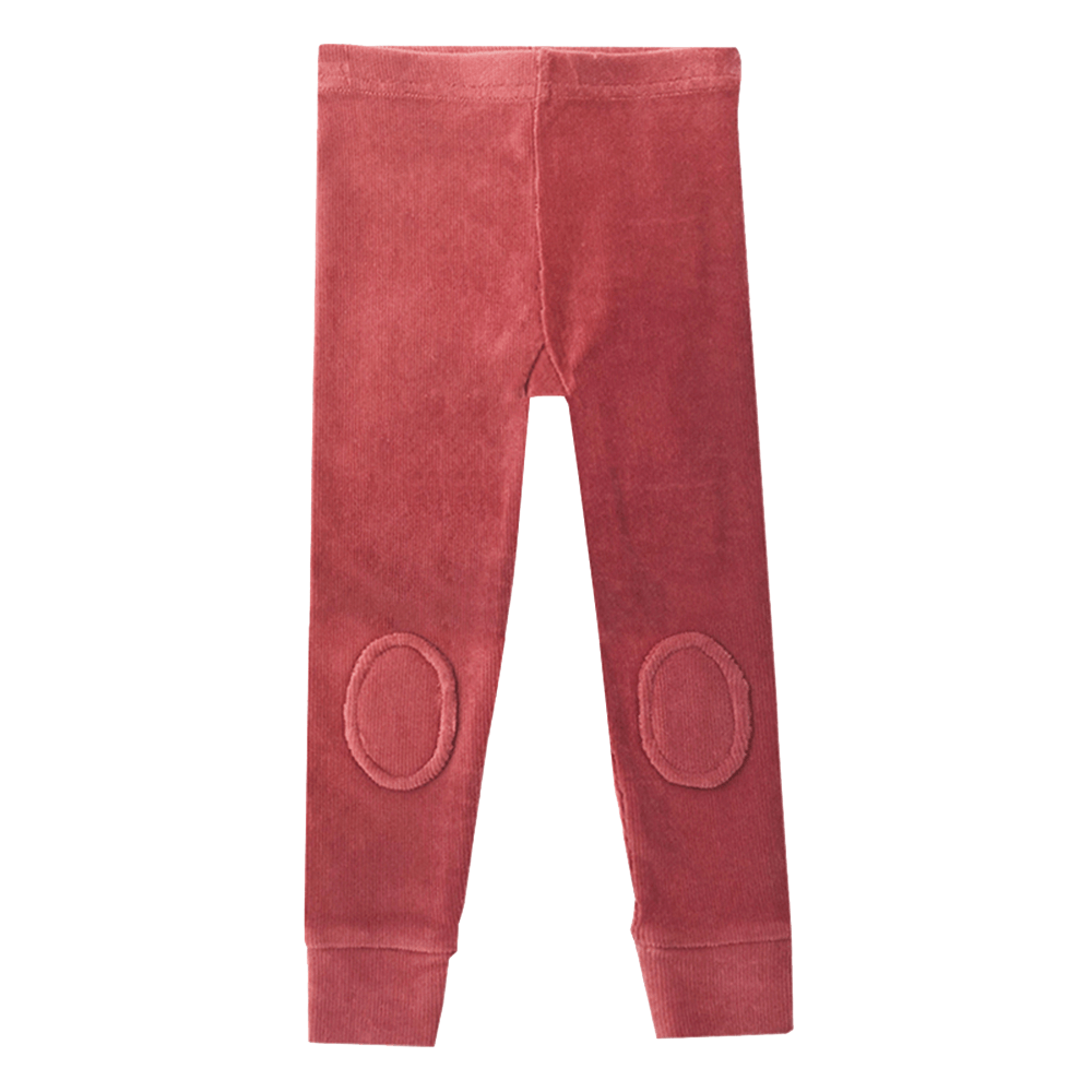Dark Pink Corduroy Knee Patch Tights