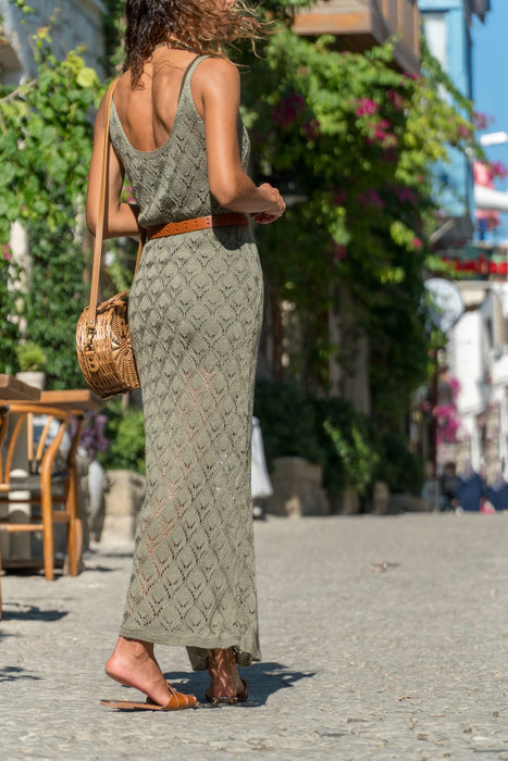 Maxi Knitted Summer dress in Khaki