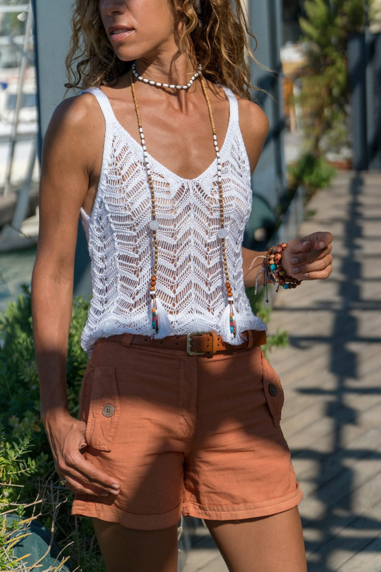 Knitted Summer Cami in White