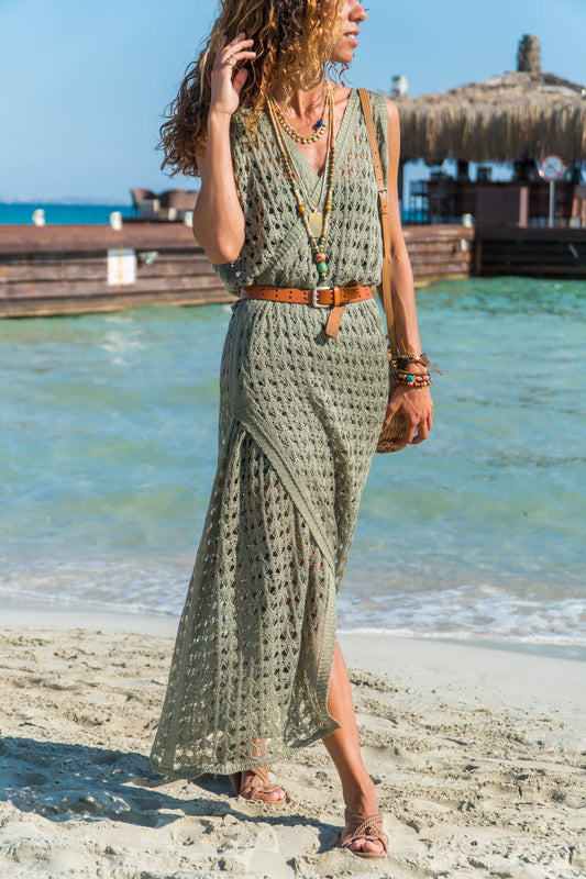 Mock Wrap Maxi Dress in Khaki