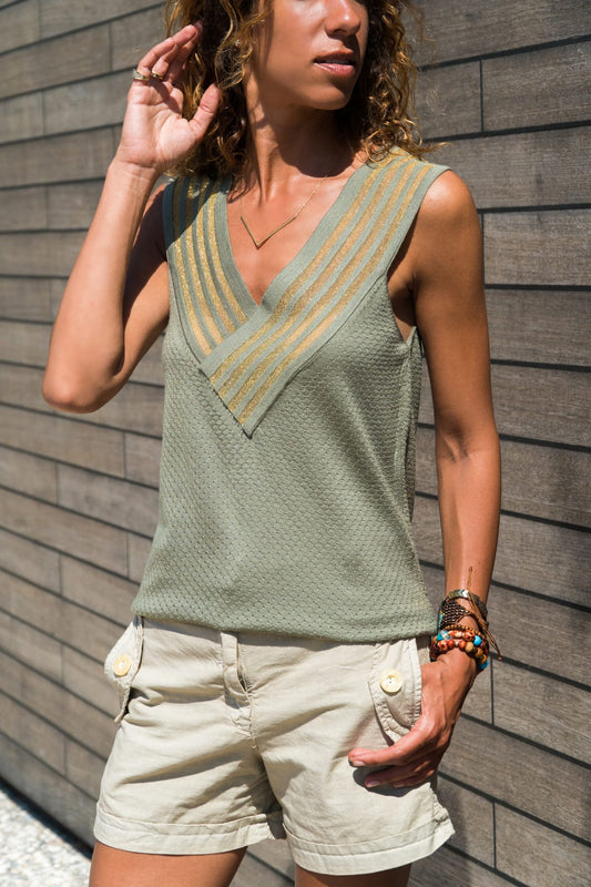 Sleeveless V-neck knitted Khaki Top