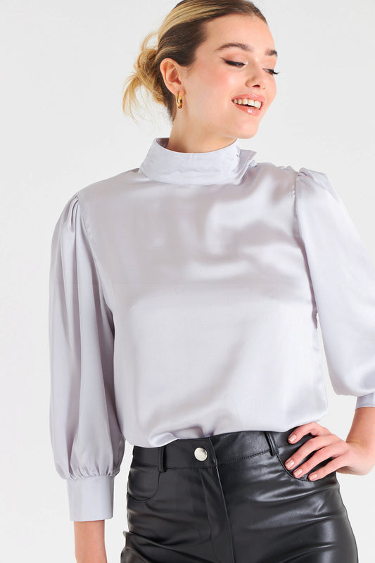 Lou Satin Blouse in Silver