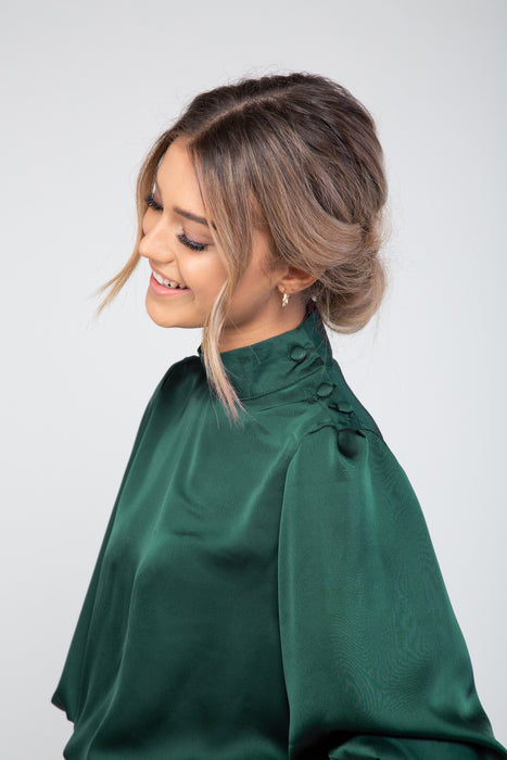 Lou Satin Blouse in Dark Green
