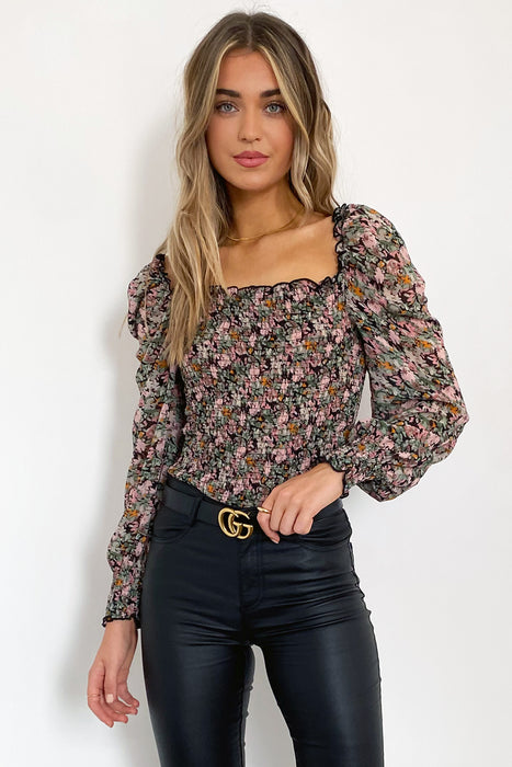 Molly Ruched Top in Black and Pink