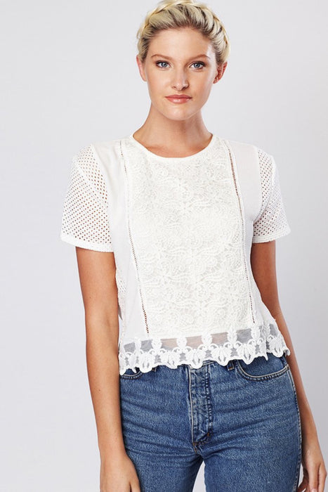 White Light Lace Detail Blouse