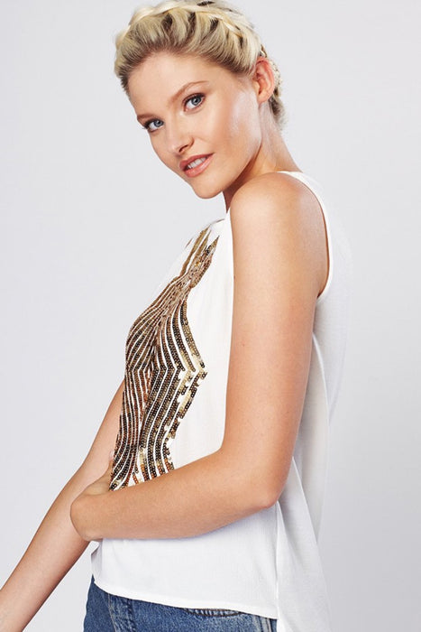 White Gold Sequin Embellished Top