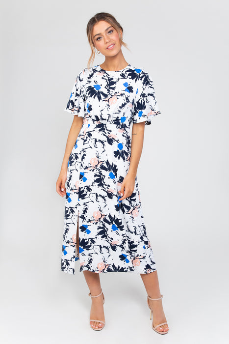 Tina Midi Dress in Multi Blue