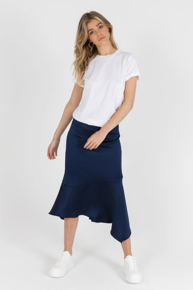 Dana Satin Skirt In Navy