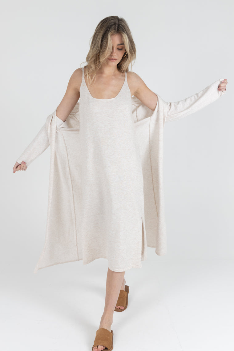Long Fifi Cardigan in Beige