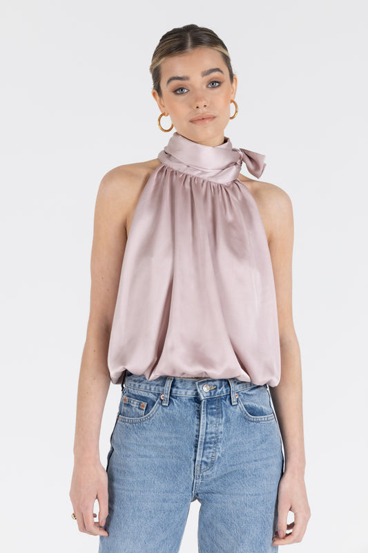 Zadie Satin Blouse in Dusty Pink
