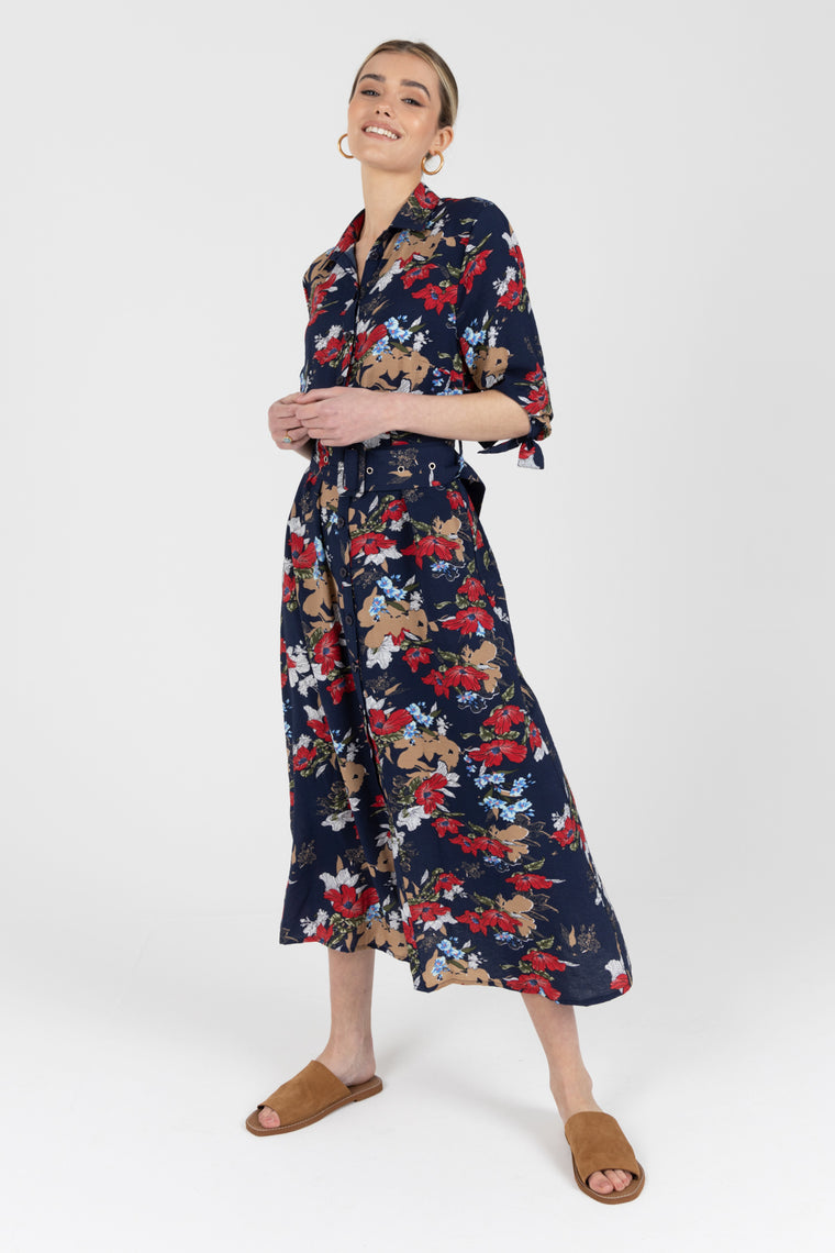 Robin Navy Floral Shirt Dress