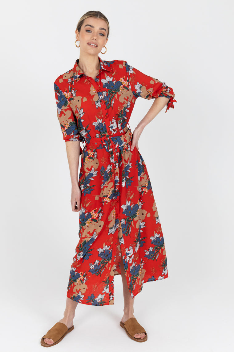 Robin Red Floral Shirt Dress
