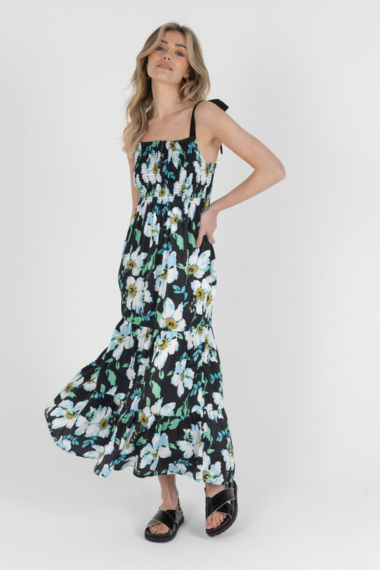 Louisa Satin Maxi Dress Black Floral