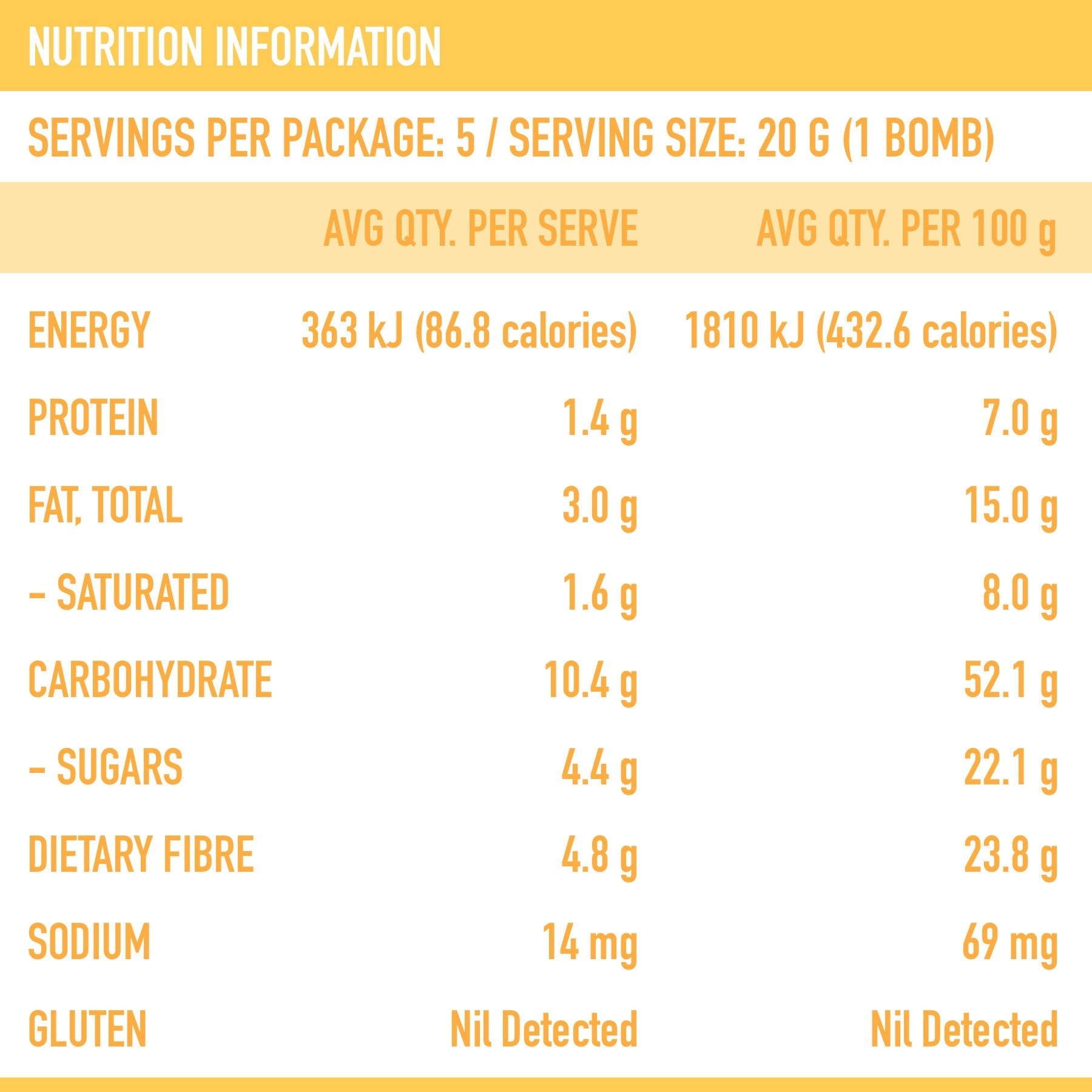 Golden Chai Smoothie Bomb Nutritional Panel