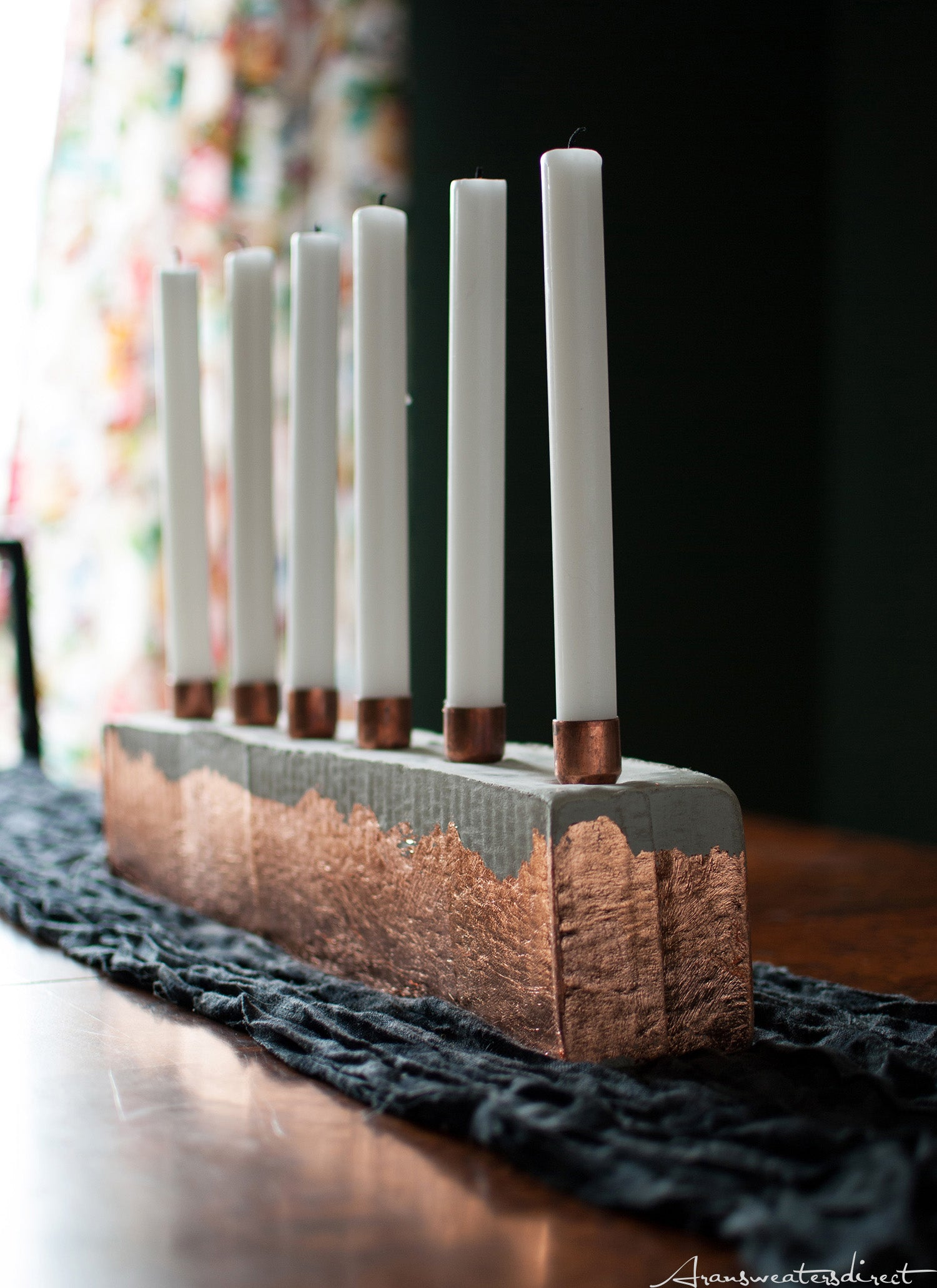 The Finished Piece: DIY Cement & Copper Candle Centerpiece #diy #copper #home #interior