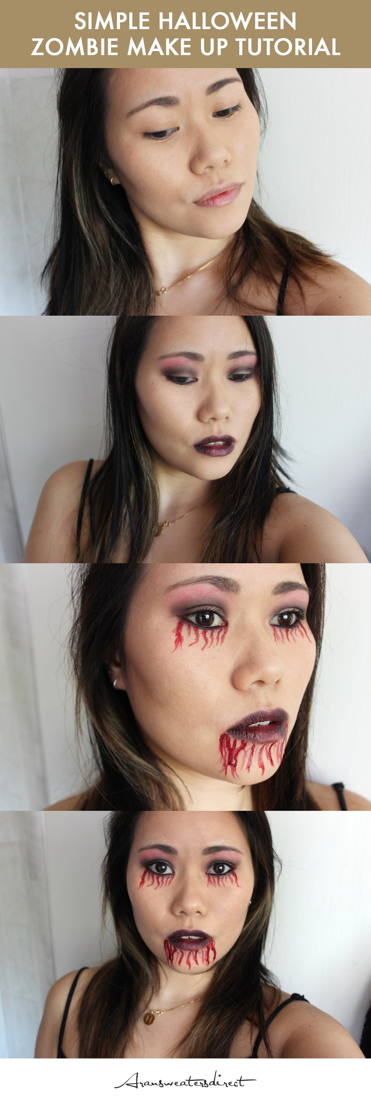 Simple Zombie Halloween Make Up Tutorial #halloween #makeup