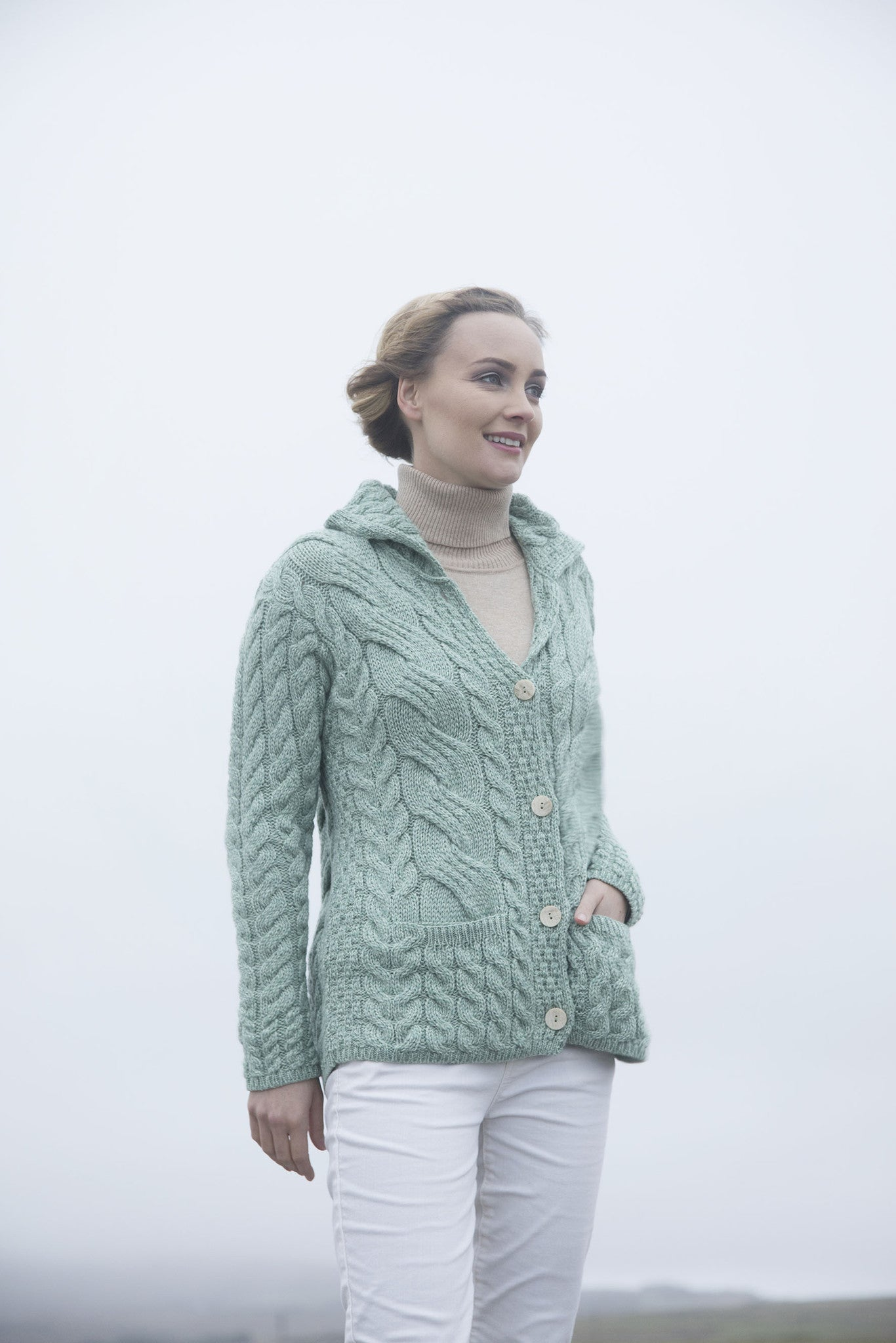 Women's Aran Button Cardigan - Seafoam Green