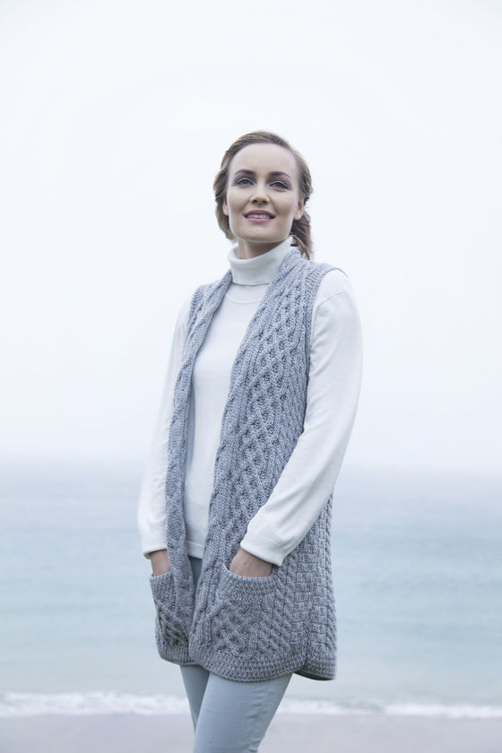 Women's Aran Shawl with Pockets - Soft Grey
