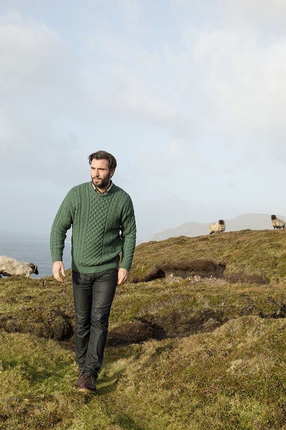 Men's Merino Aran Sweater - Connemara Green