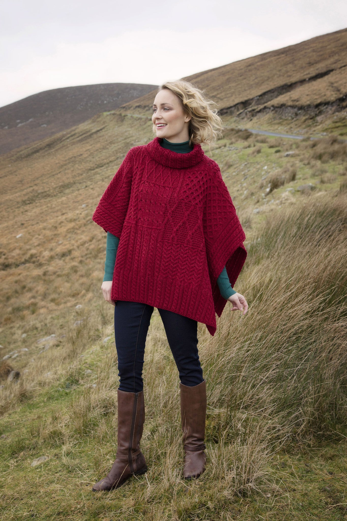 Women's Merino Wool Poncho with Rollneck collar - Chilli Pepper Red