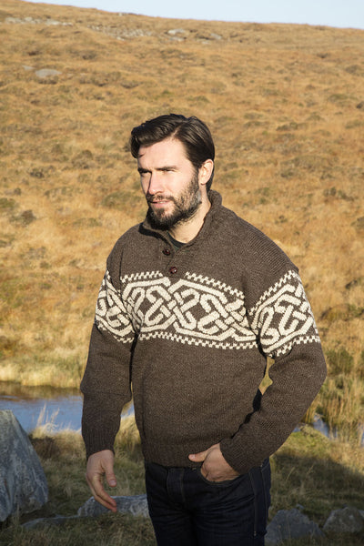 Men's Fairisle Celtic Troyer - Brown