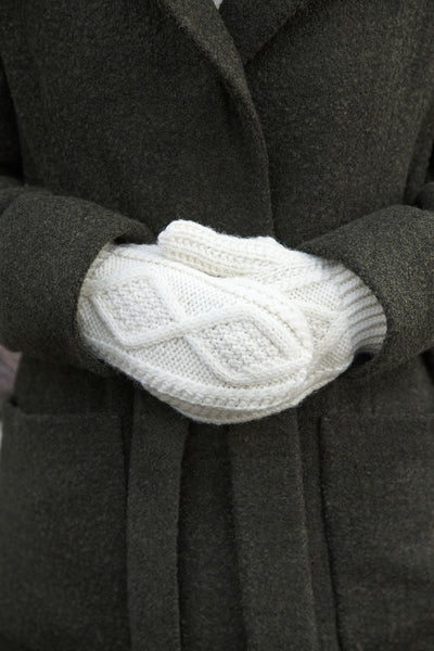 Aran Wool Gloves - Natural