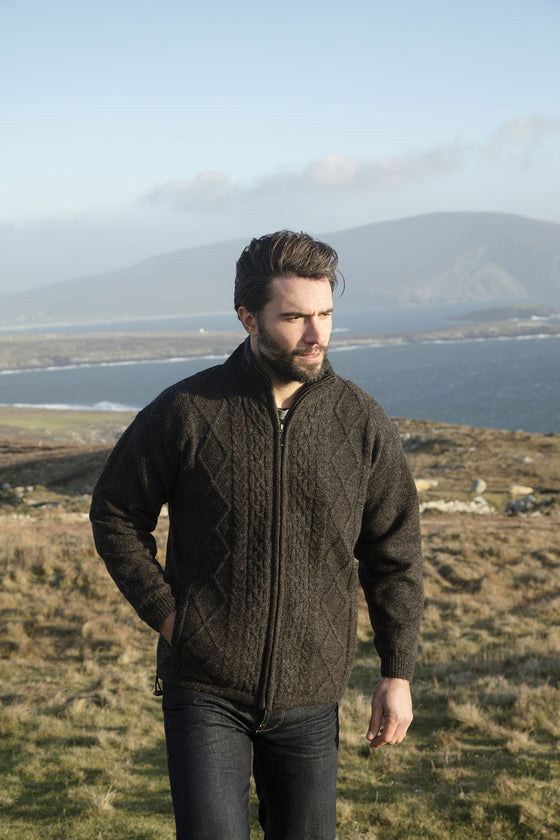 Men's Full Zip Aran Wool Sweater - Charcoal