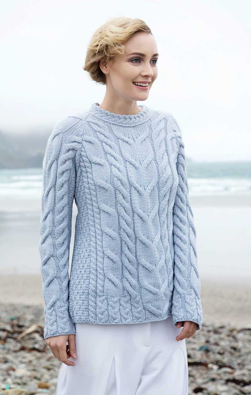Women's Soft Cable Knit Aran Sweater - Blue