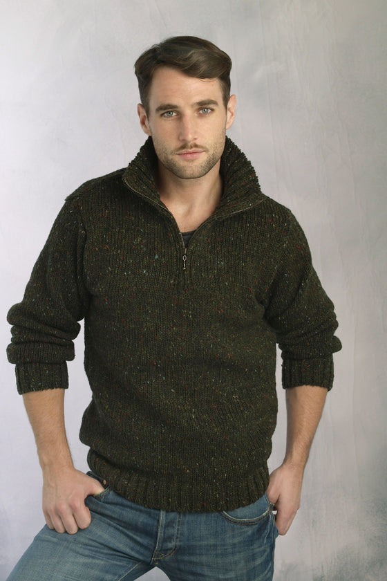 Men's Zip Collar Fishermans Sweater - Forest Green
