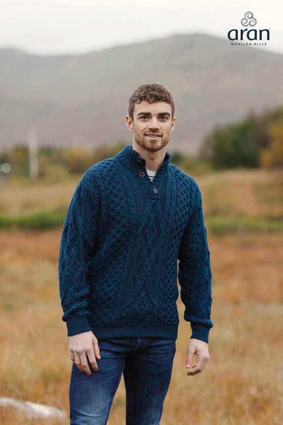 Men's Diamond Pattern Troyer Sweater in Atlantic Blue