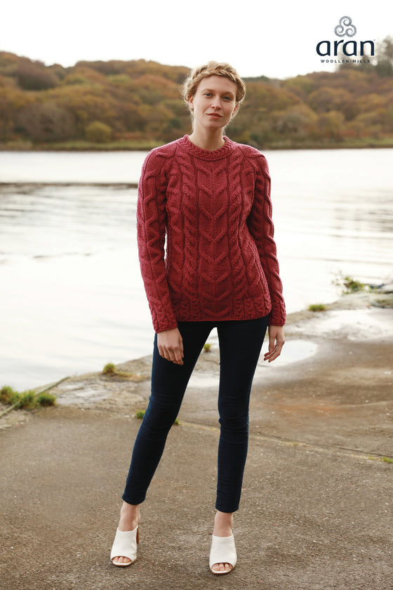 Women's Soft Cable Knit Aran Sweater - Ruby Red